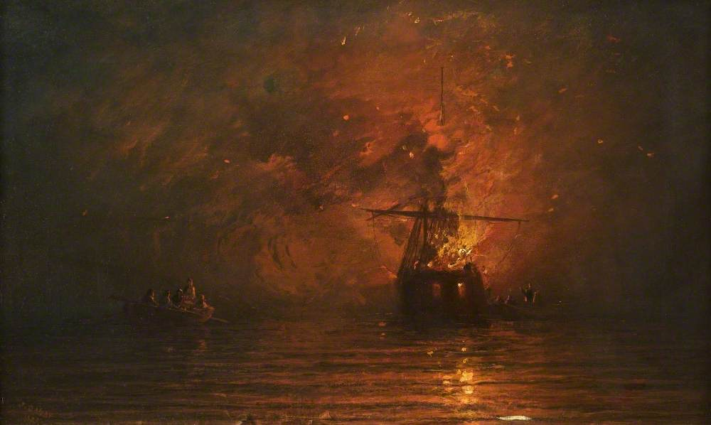 Danby, James Francis; Ship on Fire; Tameside Museums and Galleries Service: The Astley Cheetham Art Collection; http://www.artuk.org/artworks/ship-on-fire-89313